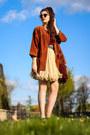 Black-leather-kurt-geiger-shoes-brick-red-leather-vintage-jacket