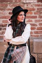 off white vintage dress - black wool Lierys hat - navy leather vintage bag