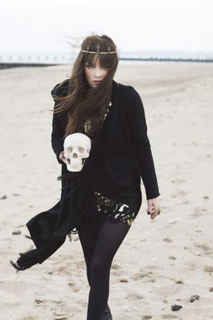 black Topshop dress - black sweater - black black tights tights