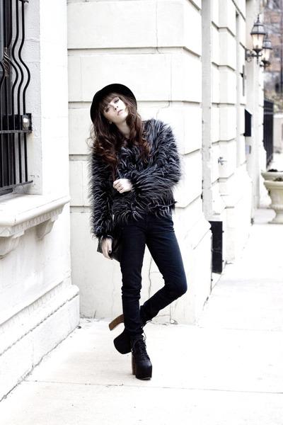 Batoko jacket - skinny jeans jeans - H&M hat - Jeffrey Campbell heels