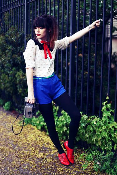 white Sheinside shirt - ruby red Modern Vice boots - blue romwe shorts
