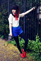 white Sheinside shirt - ruby red Modern Vice boots - blue romwe shorts