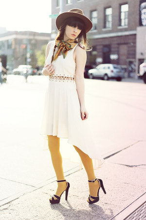 neutral Lush dress - brown hat - yellow American Apparel tights