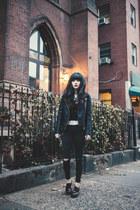 gray Topshop jeans - black Topshop jacket - black Topshop cardigan