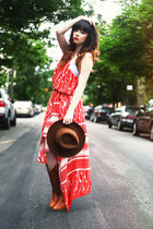 brown hat - bronze boots boots - burnt orange bcbg max azria dress
