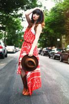 brown hat - bronze boots boots - burnt orange bcbg max azria dress