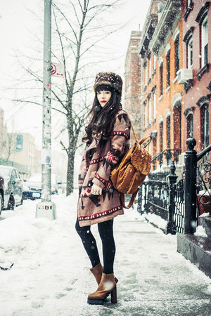 brown Jeffrey Campbell boots - mustard BB Dakota coat - camel asos hat