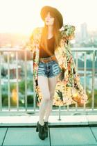 floral kimono shirt - Jeffrey Campbell boots - Denim Shorts shorts