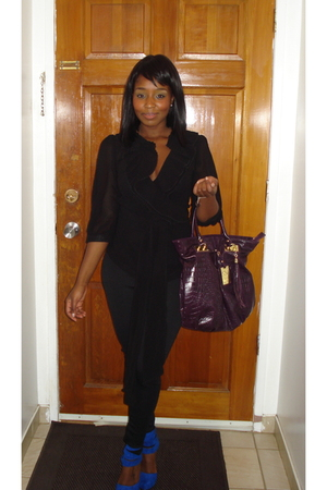 purple Aldo purse - black Costa Blanca blouse - black Forever 21 pants