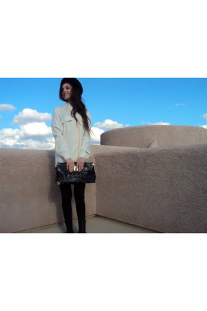 black Louis Vuitton bag - black Dr Martens boots - ivory Petite Vintage shirt