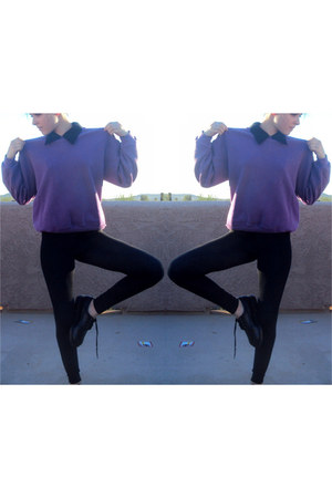 violet jumper - black shoes - black leggings - black blouse