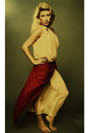 mustard dress - brick red scarf