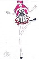 white necklace - hot pink shoes - deep purple dress - purse - bag
