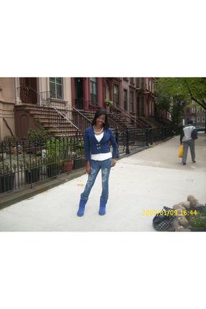 blue H&M blazer - joyce leslie shirt - American Eagle jeans - Ugg boots - Joyce