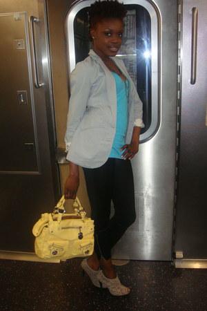 black zipper tights - beige mandees shoes - periwinkle mandees blazer