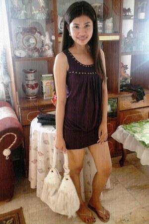 violet Whoops dress - white NafNaf bag