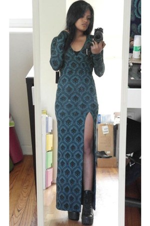 teal slit Forever 21 dress