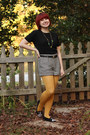Black-short-sleeved-gap-sweater-yellow-nylon-forever-21-tights