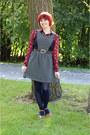 Navy-striped-modcloth-dress-maroon-cat-print-button-down-shirt