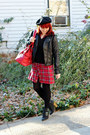 Red-mossimo-dress-black-beret-h-m-hat