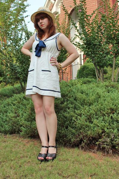 57d26949e4 white linen sailor Forever 21 dress - tan woven H M hat