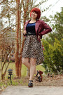 Light-brown-xhileration-dress-maroon-leather-forever-21-jacket
