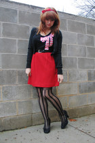 black bow Forever 21 top - black striped OASAP tights - red wool skirt
