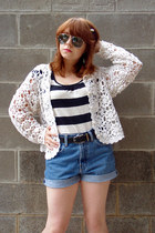 black Forever 21 shirt - blue Polo Ralph Lauren shorts - silver aviator unknown