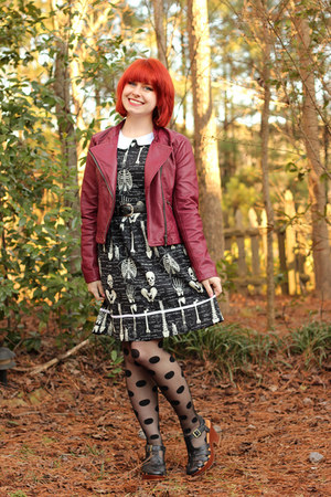 black skeleton print modcloth dress - maroon faux leather Forever 21 jacket