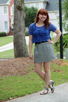 blue lace cropped Delias top - white thrifted skirt