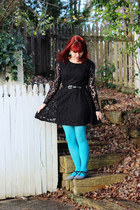 black lace OASAP dress - white Boohoo shoes - sky blue nylon Target tights