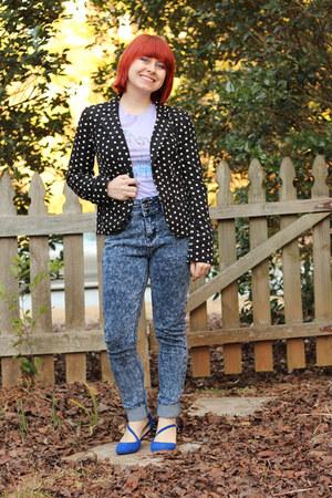 black Lauren Conrad jacket - blue Boohoo jeans - blue pointed Delias flats