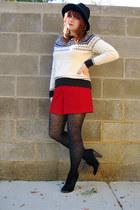 black wool H&M hat - black Xhileration boots - cream Westbound sweater