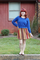 blue cropped Forever 21 sweater - orange chevron modcloth dress