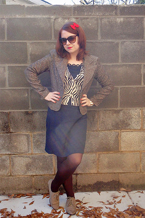 navy be smart dress - eggshell Forever 21 cardigan - light brown so blazer - bro