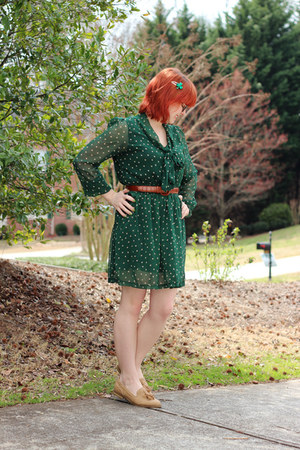 green polka dot romwe dress - tan tassel xappeal loafers