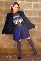 gray vintage t-shirt - blue talbots petites blazer - blue thrifted skirt - gray