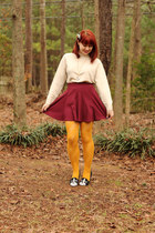 Turtleneck Sweater, Maroon Skirt, Yellow Tights