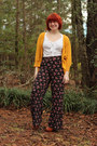 Mustard-oversized-target-cardigan-black-palazzo-floral-forever-21-pants