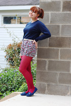 navy crew neck vintage sweater - hot pink nylon Kmart tights
