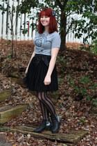 black tulle Forever 21 skirt - black glitter back Boohoo boots