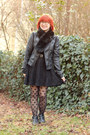Black-pointed-ankle-boohoo-boots-black-lace-oasap-dress