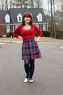 Red-scoop-neck-forever-21-sweater-navy-plaid-pleated-vintage-skirt