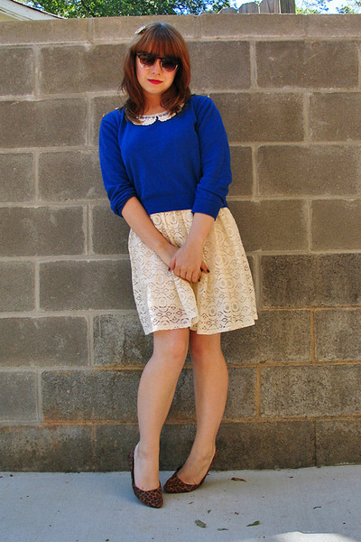 ivory Forever 21 dress - blue Forever 21 sweater - brown retro H&M sunglasses