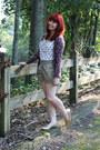 Dark-khaki-high-waisted-forever-21-shorts-maroon-leopard-print-merona-cardigan