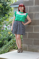 green OASAP blouse - tan oxfords Forever 21 shoes - navy Forever 21 skirt