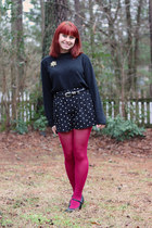 black mock turtleneck vintage sweater - hot pink nylon Kmart tights