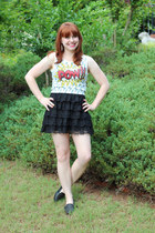 white cartoon print papaya top - black ruffled lace Forever 21 skirt