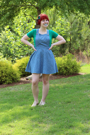 green crop top Forever 21 top - sky blue denim pinafore Forever 21 dress