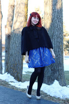 blue lace modcloth dress - black nylon Forever 21 tights